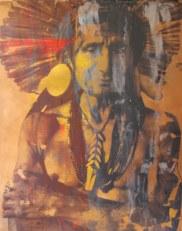 ÍNDIO BRASILEIRO, 2009, serigrafia e acrílico sobre tela, 100x80 cm