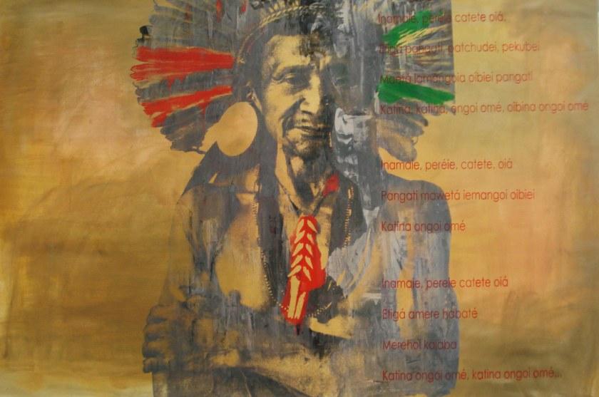 Índio Brasileiro 8, 2011, Serigrafia e acrílico sobre tela, 100X150 cm