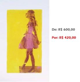 Bailarina Movimento 1, 2, 3... (22) 2014, serigrafia e acrílico sobre tela, 68x43 cm