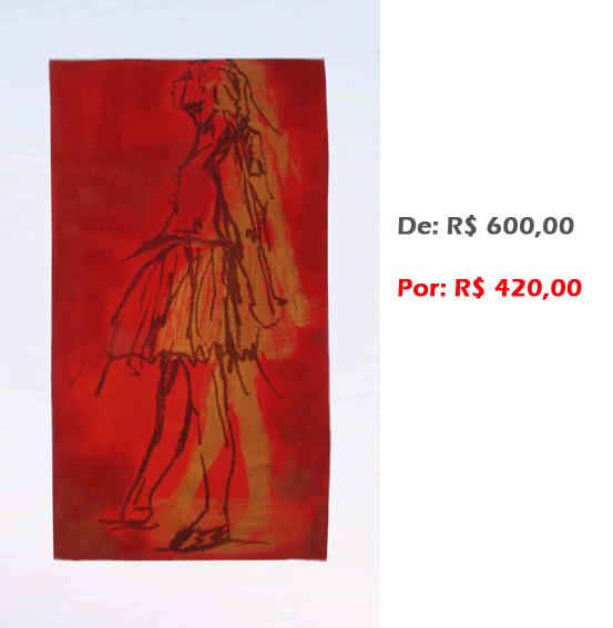 Bailarina Movimento 1, 2, 3... (33), 2014, serigrafia e acrílico sobre tela, 68x43 cm