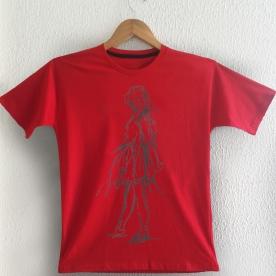Desenho Bailarina cinza sobre camiseta vermelha